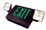 Combo LED Exit-Emergency Light - Green Letters