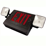Combo BLACK LED Exit-Emergency Light - Red Letters